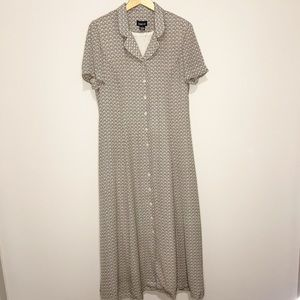 Vintage Floral Maxi Dress Brown Cream 90's Style